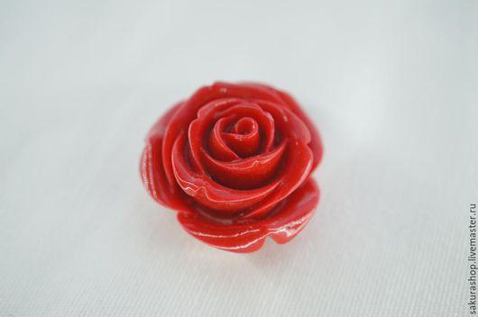 Для украшений ручной работы. Ярмарка Мастеров - ручная работа. Купить Роза из коралла подвеска 35 мм. Handmade.