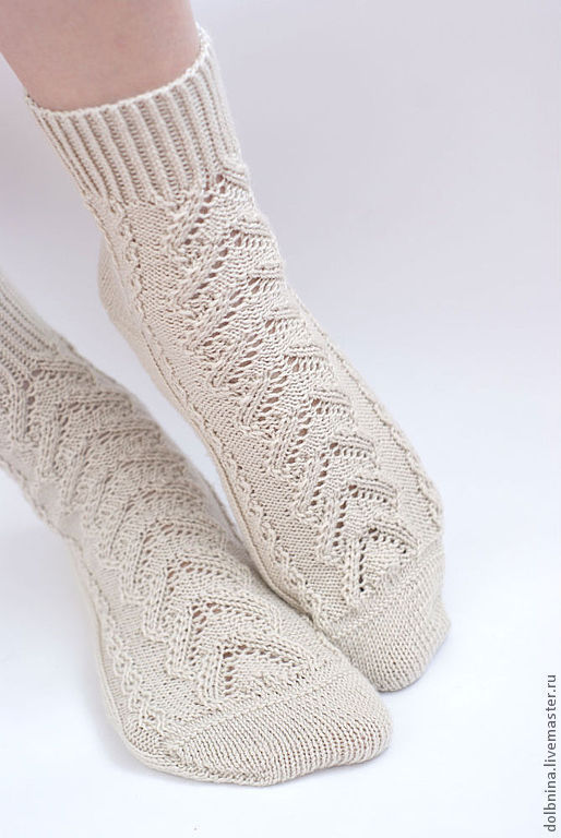 Носки, Чулки ручной работы. Ярмарка Мастеров - ручная работа. Купить Женские носочки цвета топленого молока. Handmade. Носки