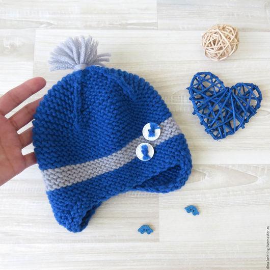 шапка детская вязаная купить, шапка на мальчика вязаная, вязаная детская шапочка
