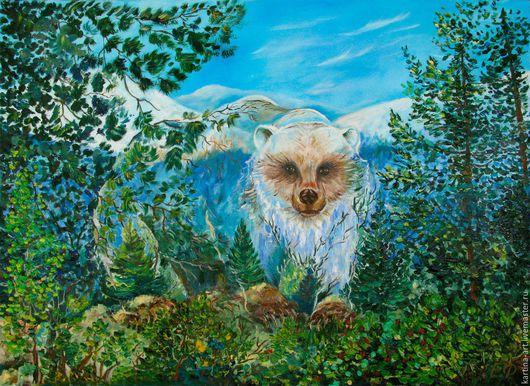 Фантазийные сюжеты ручной работы. Ярмарка Мастеров - ручная работа. Купить Тайны леса. Медведь. Handmade. Зеленый, картина в подарок
