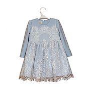 Работы для детей, handmade. Livemaster - original item Blue dressy dress for girl from Jersey with Chantilly lace. Handmade.