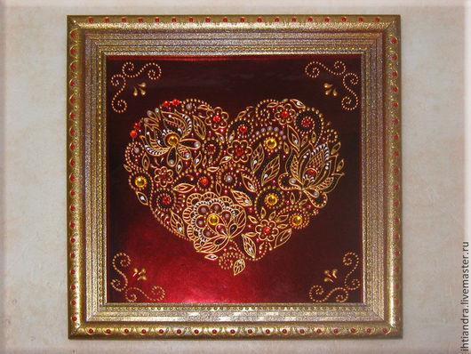 Абстракция ручной работы. Ярмарка Мастеров - ручная работа. Купить Декоративное панно  Я тебя люблю Роспись по стеклу. Handmade.
