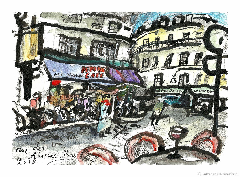 """Город ручной работы. Ярмарка Мастеров - ручная работа. Купить Картина Вид на кафе """"Pepone"""", улица Аббес, Париж. Handmade."""
