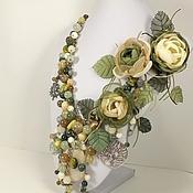 Украшения handmade. Livemaster - original item Fairy Olive Groves. A necklace and three brooches flower. Handmade.