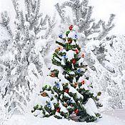 Картины и панно handmade. Livemaster - original item Christmas tree with garland. Handmade.