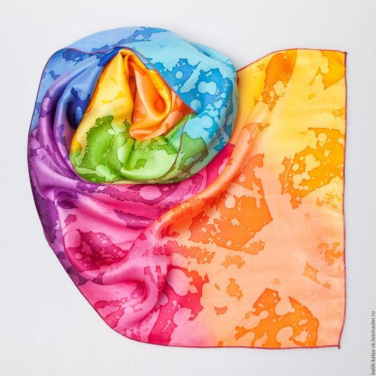 """Шарфы и шарфики ручной работы. Ярмарка Мастеров - ручная работа. Купить Батик шарф """"Радуга. оранжевый"""". Handmade. Комбинированный, шарфик"""