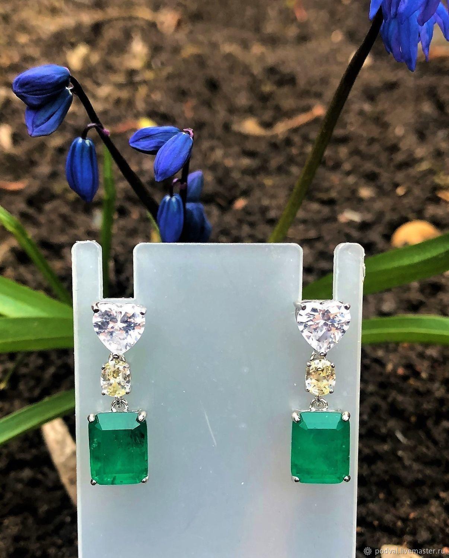 Long silver earrings with emeralds ' Princess', Earrings, Korolev,  Фото №1