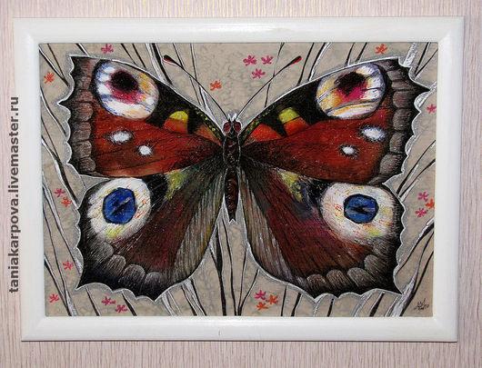 """Животные ручной работы. Ярмарка Мастеров - ручная работа. Купить Панно """"Бабочка"""". Handmade. Батик, комбинированный, природа, акриловые краски"""