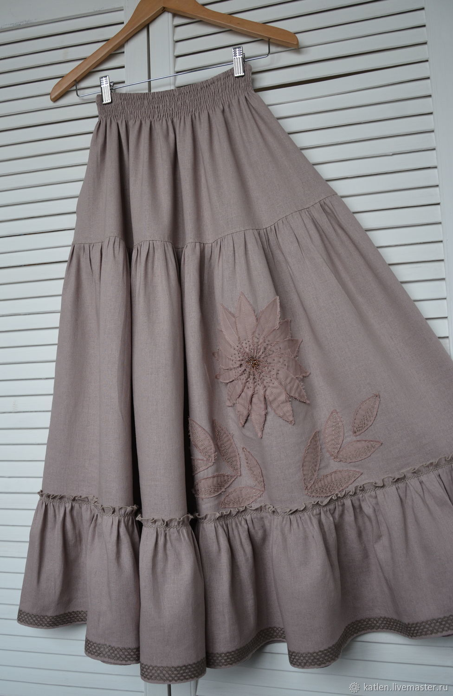311e0278a1 Skirts handmade. Livemaster - handmade. Buy Linen skirt with pockets  the  Last flower ...