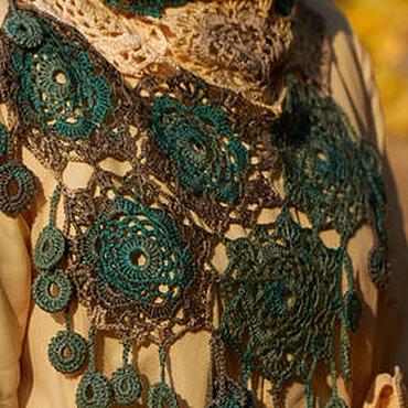 Аксессуары ручной работы. Ярмарка Мастеров - ручная работа Ажурная шаль, косынка, платок  Цвета осени (болотный). Handmade.