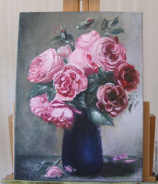 Картины цветов ручной работы. Ярмарка Мастеров - ручная работа. Купить Картина маслом Розы синей в вазе.. Handmade. Комбинированный