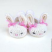 Работы для детей, handmade. Livemaster - original item Booties for girl baby rabbits booties warm wool. Handmade.