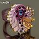 Кольцо женское `Крылья`, 18 размер муранское стекло
