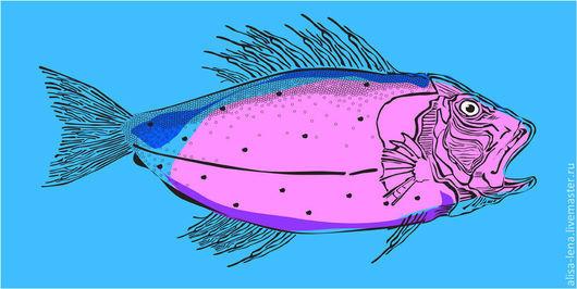 Иллюстрации ручной работы. Ярмарка Мастеров - ручная работа. Купить иллюстрация Рыба. Handmade. Разноцветный, цветная, иллюстрация