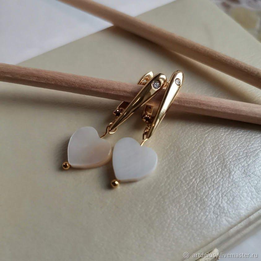 Earrings classic: Angel Heart earrings with mother of pearl, Earrings, Moscow,  Фото №1