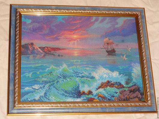 """Пейзаж ручной работы. Ярмарка Мастеров - ручная работа. Купить """"Закат на море"""" картина бисером. Handmade. Синий, море, закат"""