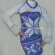 Одежда ручной работы. Ярмарка Мастеров - ручная работа Вязаный комплект (платье с орнаментом, шраг и бусы). Handmade.