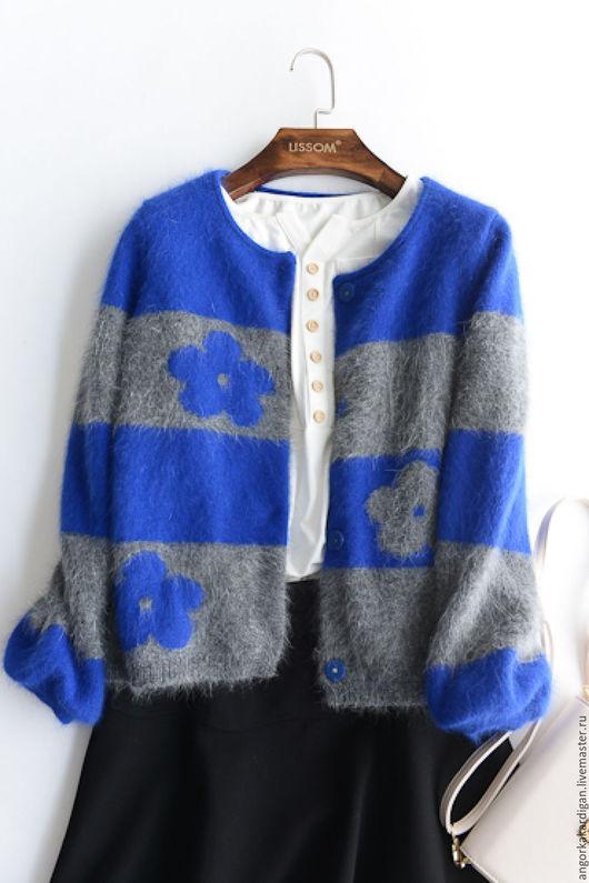 Кофты и свитера ручной работы. Ярмарка Мастеров - ручная работа. Купить Кардиган из ангорки. Handmade. Синий, оригинальный, кардиган из ангоры
