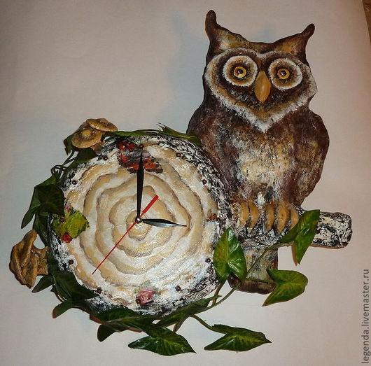 """Часы для дома ручной работы. Ярмарка Мастеров - ручная работа. Купить Часы """"Филин"""". Handmade. Папье-маше, настенные часы"""