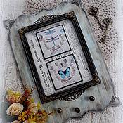 """Для дома и интерьера ручной работы. Ярмарка Мастеров - ручная работа Панно-ключница """"Винтажные бабочки"""". Handmade."""