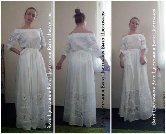 """Платья ручной работы. Ярмарка Мастеров - ручная работа. Купить Летнее платье """"Дворянка"""". Handmade. Белый, сарафан, сарафан из хлопка"""
