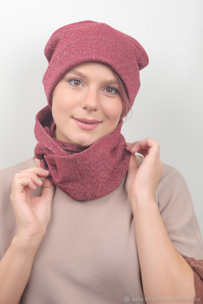Set hat scarf or Snood Burgundy with lurex, Headwear Sets, Moscow,  Фото №1