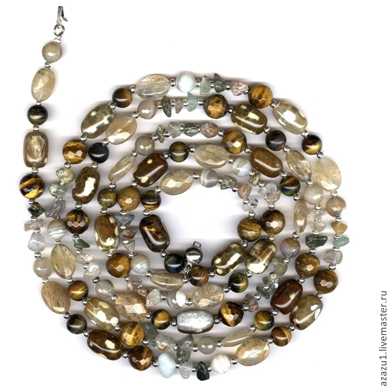 Beautiful beads in Golden yellow colours: tiger eye, citrine, onyx, jade... Buy long necklace at the Fair masters
