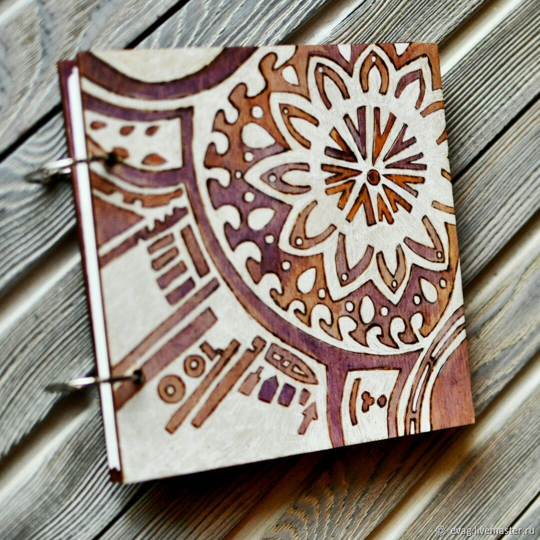 """Sketchbook wood cover 16x16sm """"Tiling 2"""", Sketchbooks, Moscow,  Фото №1"""