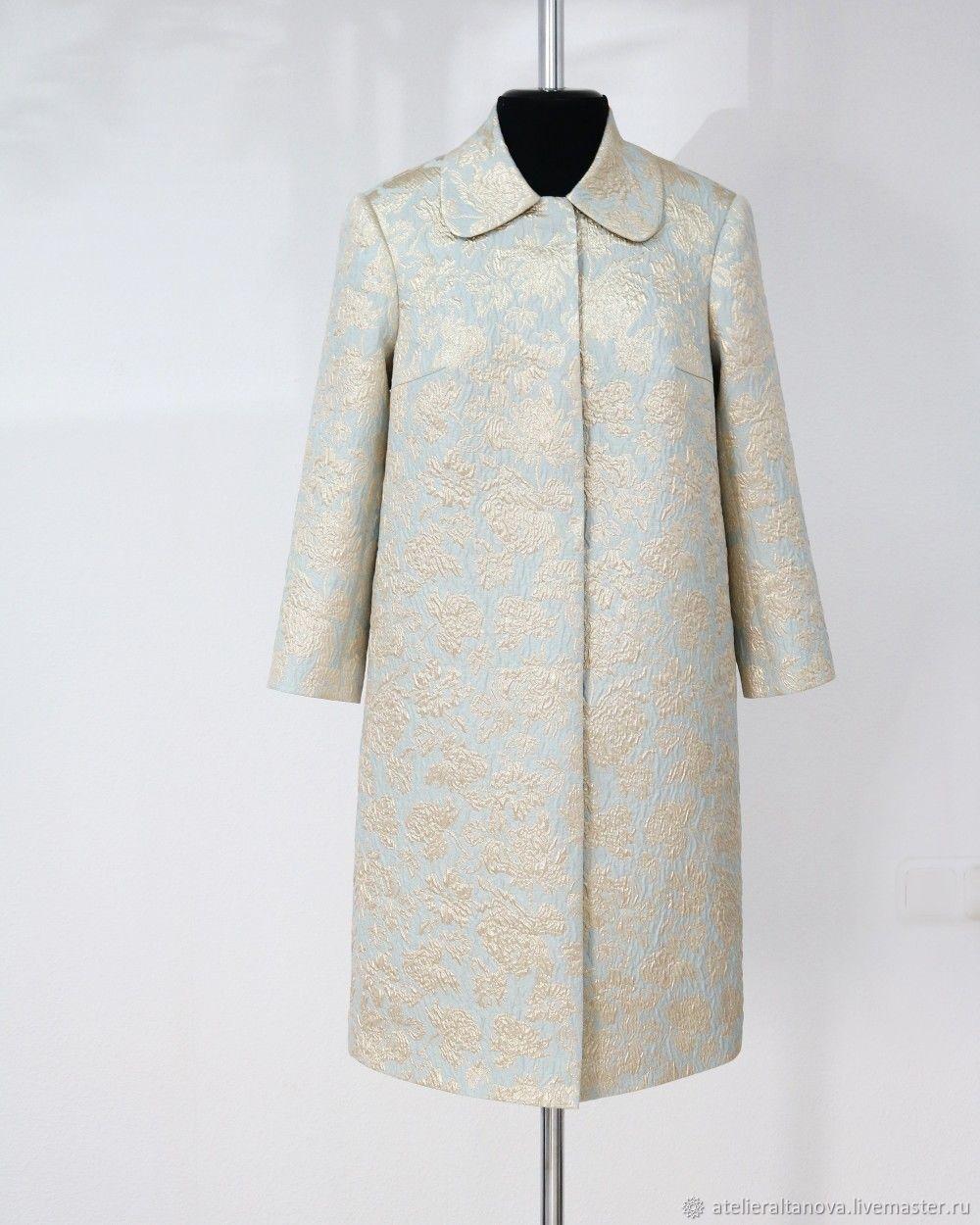 Верхняя одежда ручной работы. Ярмарка Мастеров - ручная работа. Купить Вечернее пальто в стиле первой леди. Handmade. Голубой