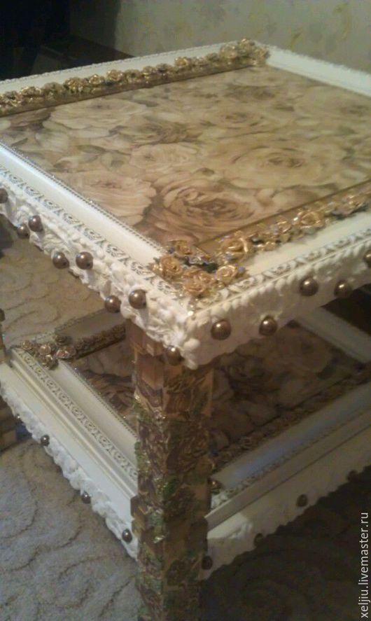 Мебель ручной работы. Ярмарка Мастеров - ручная работа. Купить Стол деревянный. Handmade. Белый, Стразы swarovski, стиль, дерево
