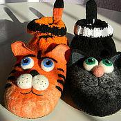 """Обувь ручной работы. Ярмарка Мастеров - ручная работа Тапочки """"Тигренок и Кошечка"""". Handmade."""