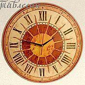 """Для дома и интерьера ручной работы. Ярмарка Мастеров - ручная работа Часы настенные """"Солнце Италии"""" круглые терракота. Handmade."""