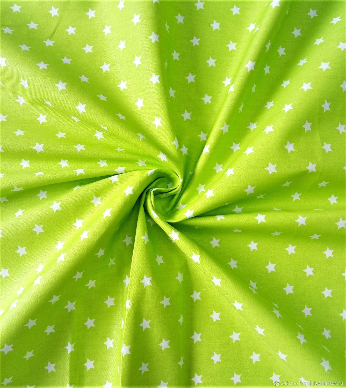 Ткань Звездочки на салатовом, сатин, 100% хлопок, Ткани, Москва,  Фото №1