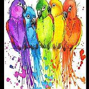 Картины ручной работы. Ярмарка Мастеров - ручная работа Картины: Картина по номерам Стая попугаев. Handmade.