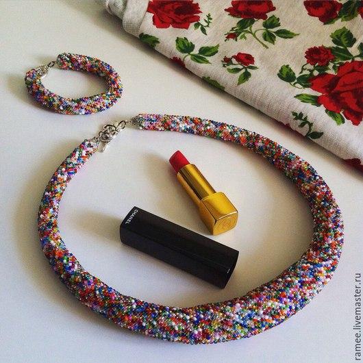 Колье, бусы ручной работы. Ярмарка Мастеров - ручная работа. Купить Комплект  Самоцветы(колье и браслет). Handmade. Разноцветный, бисерный жгут