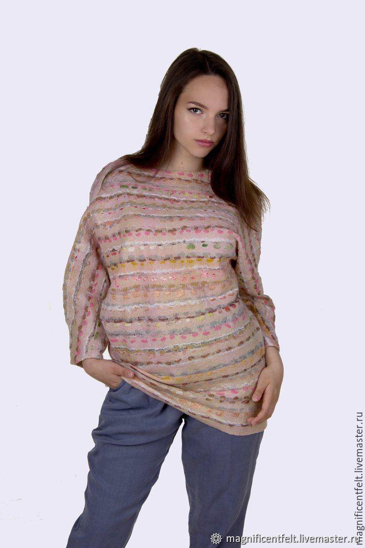 Felt light pink sweatshirt on silk. ' Summertime', Sweaters, St. Petersburg,  Фото №1