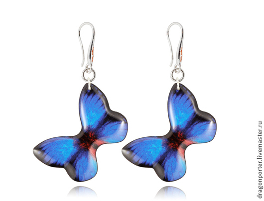 """Серьги ручной работы. Ярмарка Мастеров - ручная работа. Купить Серьги темно-синие двусторонние для любимой """"Сапфировые бабочки"""". Handmade."""