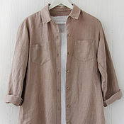 Одежда handmade. Livemaster - original item Beige women`s shirt made of 100% linen. Handmade.
