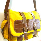 Сумки и аксессуары handmade. Livemaster - original item Messenger shoulder bag, textile with leather unisex STUDENT. Handmade.