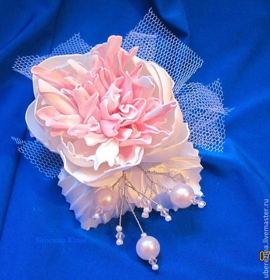 Свадебные украшения ручной работы. Ярмарка Мастеров - ручная работа. Купить заколка для невесты. Handmade. Белый, заколка с пионами