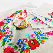Для дома и интерьера handmade. Livemaster - original item Table napkins Linen napkins Tablecloth with napkins Embroidery. Handmade.