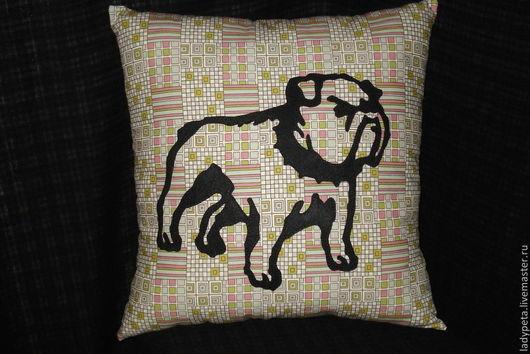 """Текстиль, ковры ручной работы. Ярмарка Мастеров - ручная работа. Купить Подушка """"Бульдог """". Handmade. Черный, интерьерная подушка"""