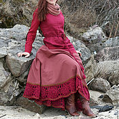 """Одежда ручной работы. Ярмарка Мастеров - ручная работа Льняная юбка  - полусолнце   """"Марсала"""". Handmade."""