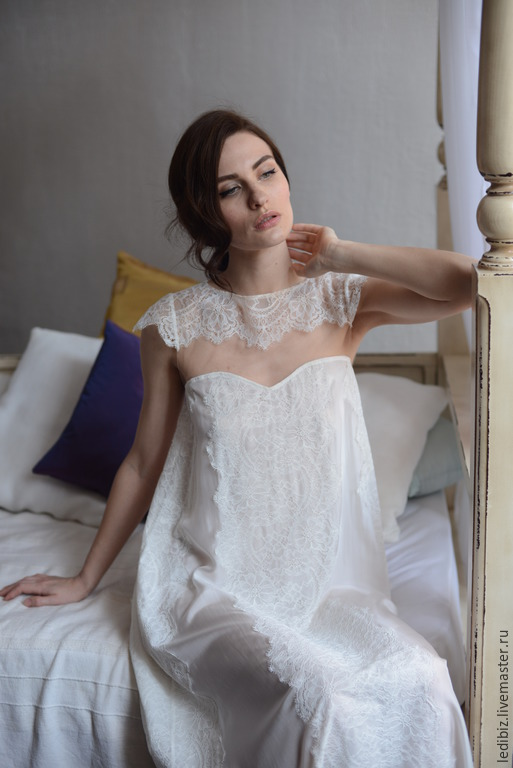Long silk bridal nightgown with lace f2 bridal lingerie for Bra for wedding dress shopping