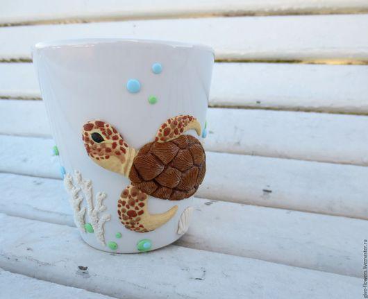 Кружки и чашки ручной работы. Ярмарка Мастеров - ручная работа. Купить Кружка Черепаха из полимерной глины. Handmade. Бежевый