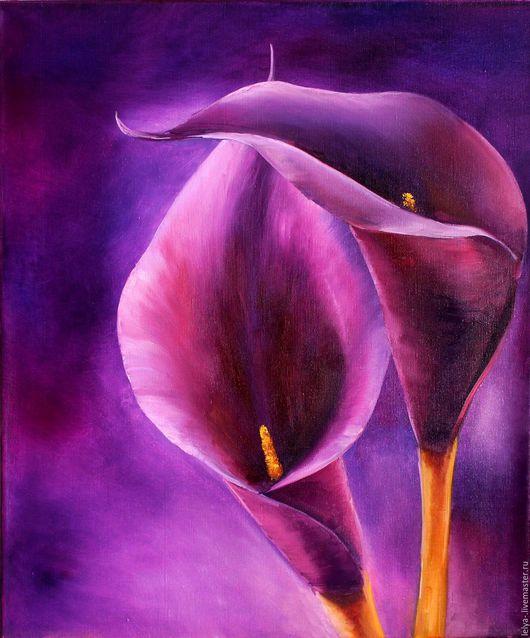 Картины цветов ручной работы. Ярмарка Мастеров - ручная работа. Купить Картина маслом Каллы. Handmade. Фиолетовый, калла