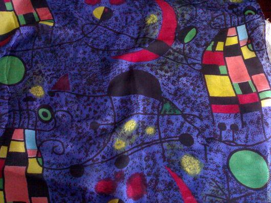 Шитье ручной работы. Ярмарка Мастеров - ручная работа. Купить Винтажный ярко-синий платок. Handmade. Комбинированный, абстракция