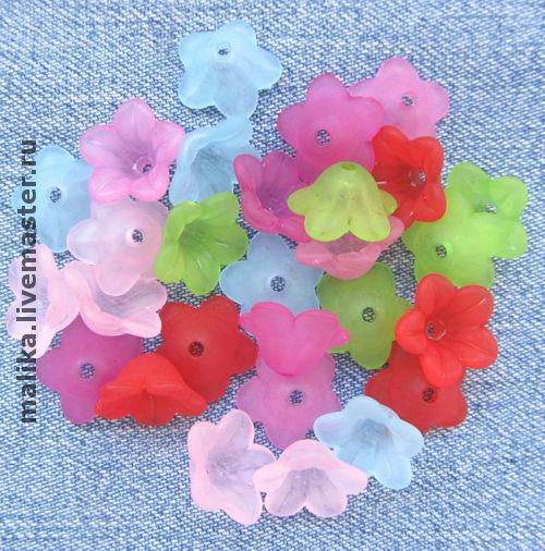 Акриловые бусины цветы Колокольчик для создания украшений. Malika. Ярмарка Мастеров.