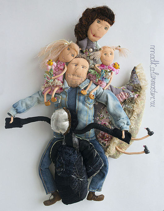 Коллекционные куклы ручной работы. Ярмарка Мастеров - ручная работа. Купить family portrait. Handmade. Семья, текстильная, Декор, родители