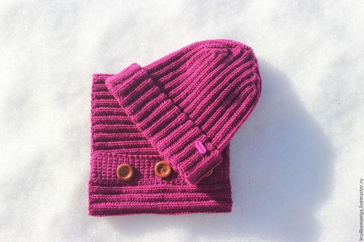 Комплект из шапки чулка и снуда. Возможно повторение в любом размере и цвете.